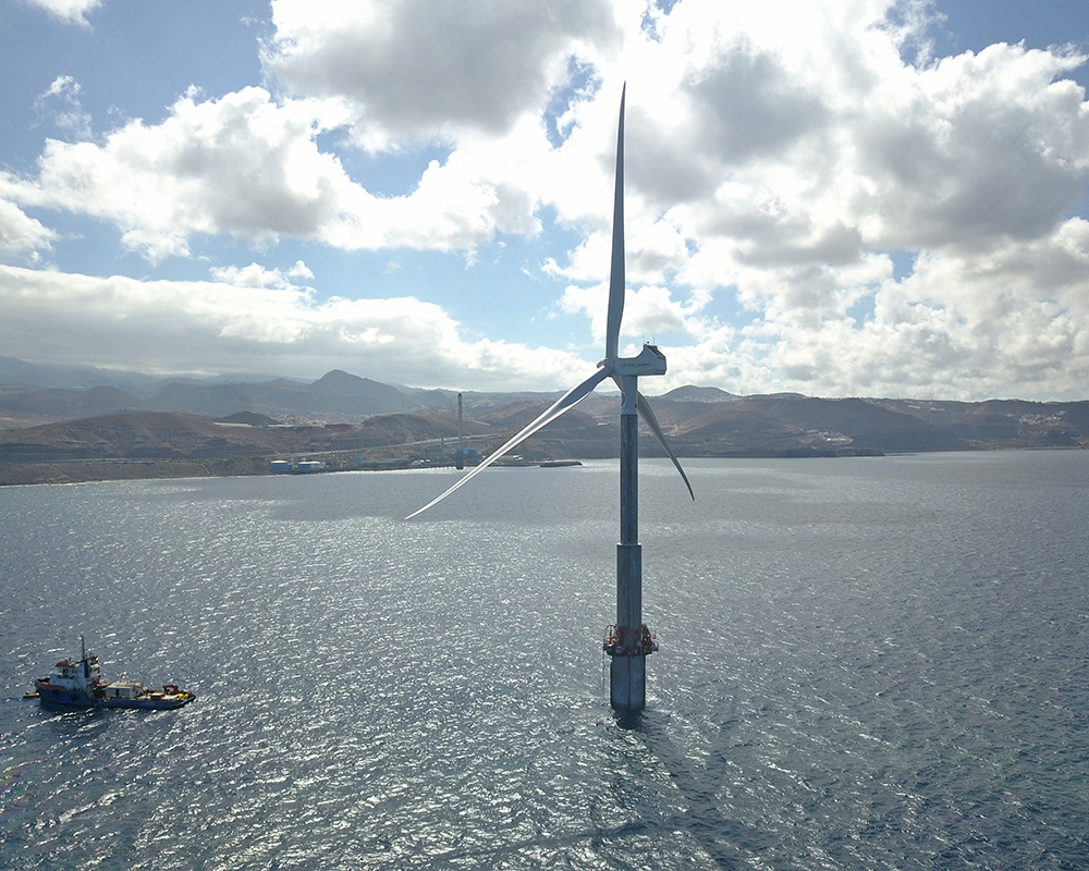 THE MARINE WIND TURBINE IN GRAN CANARIA ISLAND SETS SPAIN IN THE MAP OF THE SECTOR